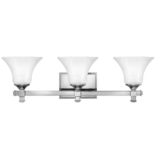 Hinkley Lighting Bathroom Light with White Glass in Chrome Finish 5853CM