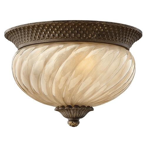 Hinkley Lighting Close To Ceiling Light with Amber Glass in Pearl Bronze Finish 2128PZ