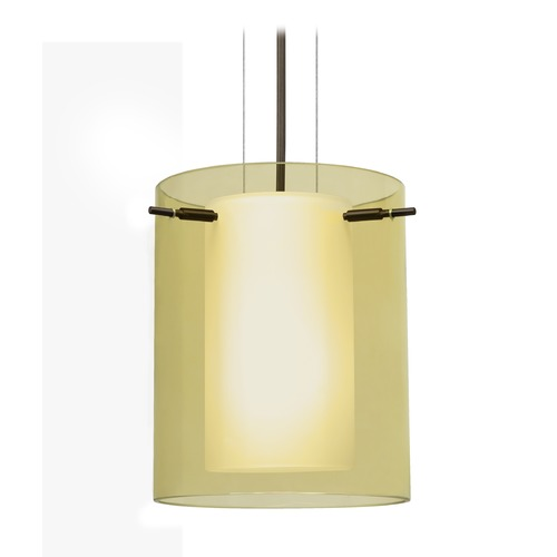 Besa Lighting Besa Lighting Pahu Bronze LED Mini-Pendant Light with Cylindrical Shade 1KG-Y00607-LED-BR