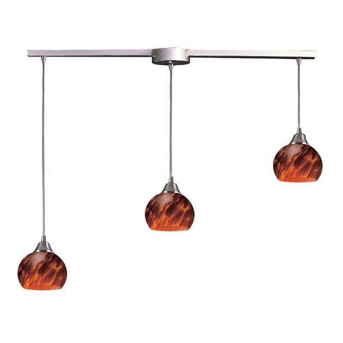 Elk Lighting Multi-Light Pendant Light with Brown Glass and 3-Lights 101-3L-ES