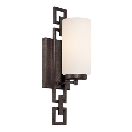 Designers Fountain Lighting Sconce Wall Light with White Glass in Flemish Bronze Finish 83801-FBZ
