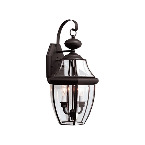 Sea Gull Lighting Outdoor Wall Light with Clear Glass in Black Finish 8039-12