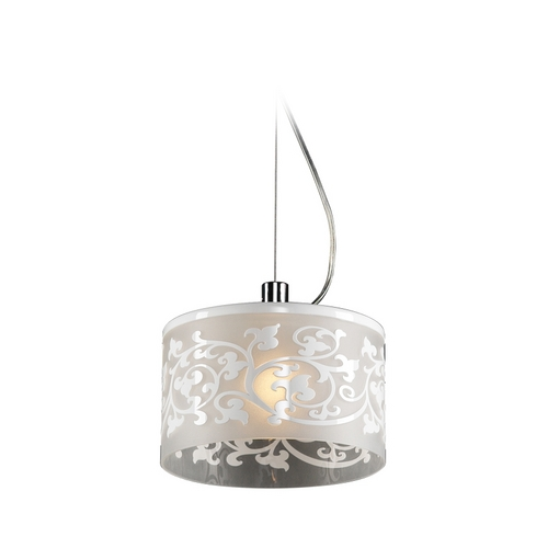 PLC Lighting Modern Mini-Pendant Light with White Glass 81821 WHITE