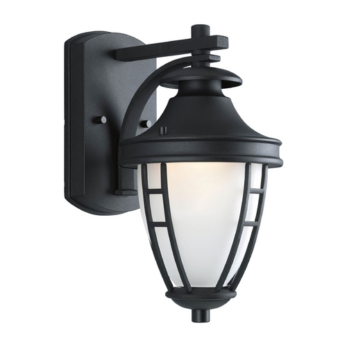 Progress Lighting Progress Outdoor Wall Light with White Glass in Textured Black Finish P5775-31