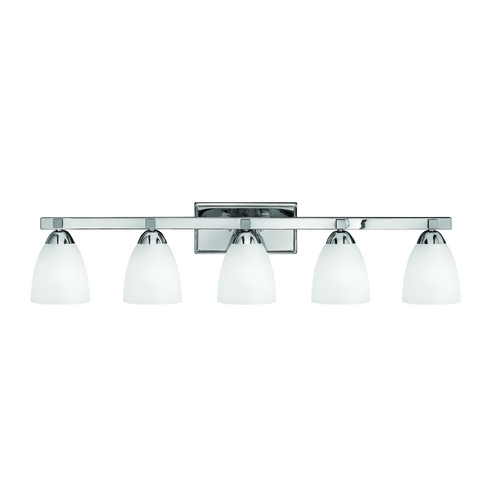 Hinkley Lighting Bathroom Light with White Glass in Chrome Finish 5255CM