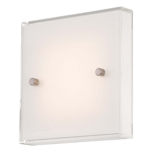 George Kovacs Lighting Modern LED Sconce Wall Light with White Glass in Brushed Nickel Finish P1141-084-L