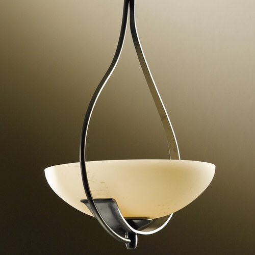 Hubbardton Forge Lighting Hubbardton Forge Lighting Lyra Burnished Steel Pendant Light with Bowl / Dome Shade 137470-08-H123