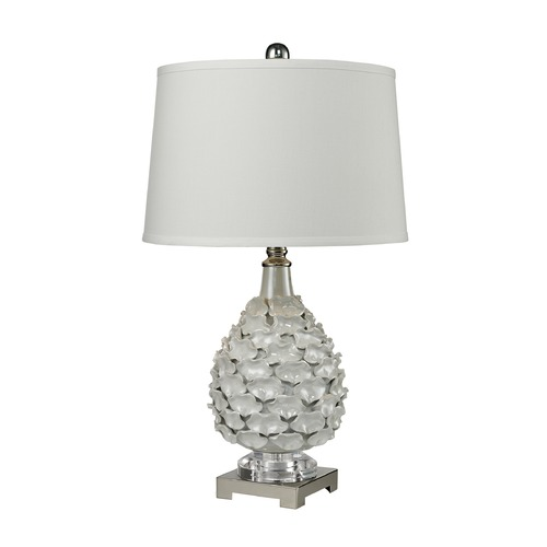 Dimond Lighting Dimond Lighting White Pearlescent Glaze, Polished Nickel Table Lamp with Empire Shade D2599