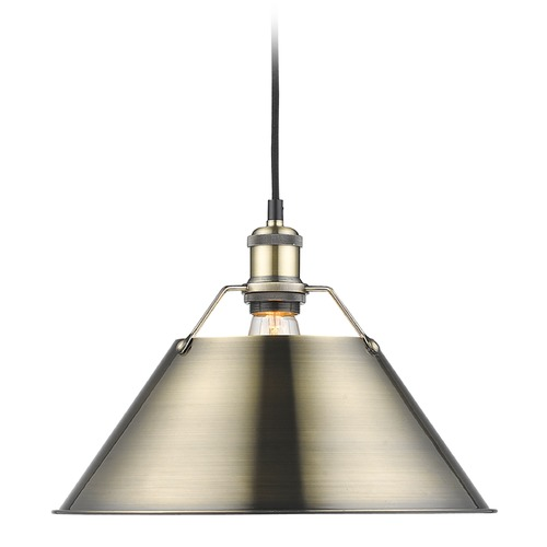 Golden Lighting Golden Lighting Orwell Ab Aged Brass Pendant Light with Conical Shade 3306-L AB-AB