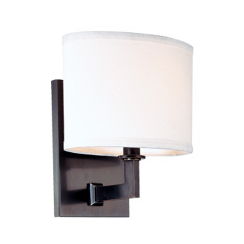 Hudson Valley Lighting Modern Sconce Wall Light with White Shade in Old Bronze Finish 591-OB