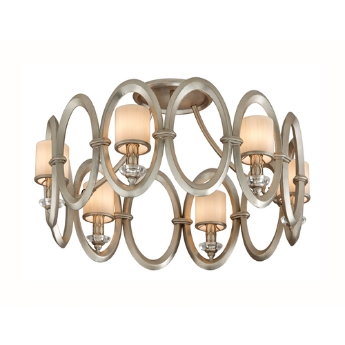 Corbett Lighting Corbett Lighting Embrace Satin Silver Leaf Semi-Flushmount Light 134-36