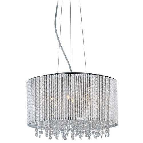 ET2 Lighting Modern Pendant Light with Clear Glass in Polished Chrome Finish E23135-10PC
