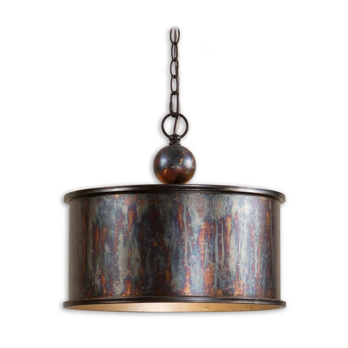 Uttermost Lighting Drum Pendant Light in Oxidized Bronze Finish 21921