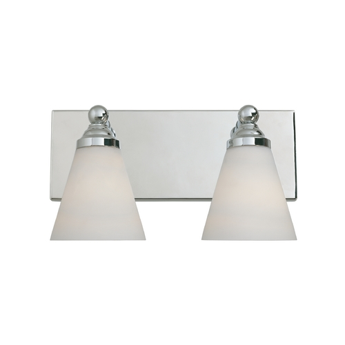 Designers Fountain Lighting Modern Bathroom Light with White Glass in Chrome Finish 6492-CH
