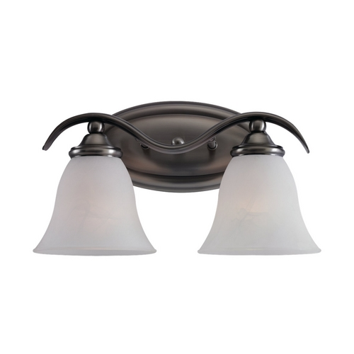 Sea Gull Lighting Bathroom Light with White Glass in Antique Brushed Nickel Finish 44360-965