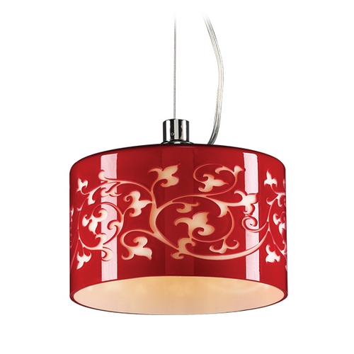 PLC Lighting Modern Mini-Pendant Light with Red Glass 81821  RED