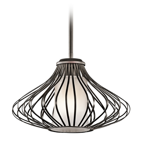 Kichler Lighting Kichler Pendant Light with White Glass in Olde Bronze Finish 43200OZ
