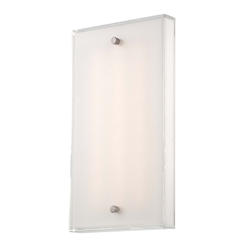 George Kovacs Lighting Modern LED Sconce Wall Light with White Glass in Brushed Nickel Finish P1142-084-L