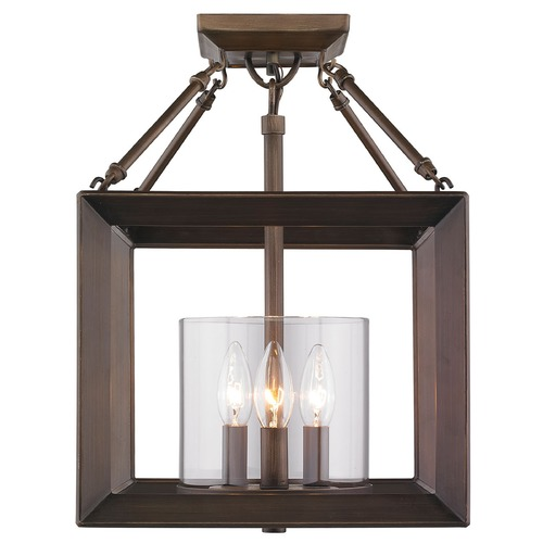 Golden Lighting Golden Lighting Smyth Gunmetal Bronze Semi-Flushmount Light 2073-SF GMT