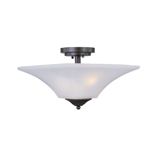 Maxim Lighting Modern Semi-Flushmount Light with White Glass in Oil Rubbed Bronze Finish 20091FTOI
