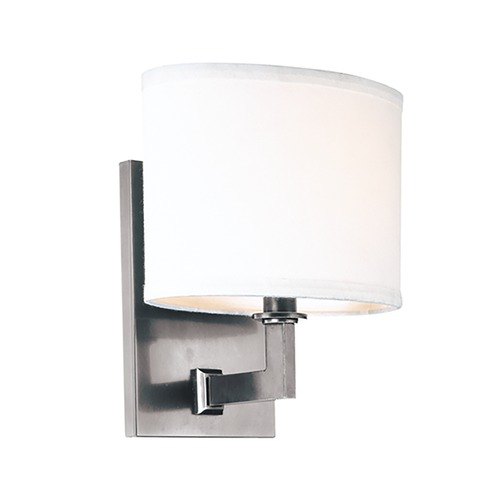 Hudson Valley Lighting Modern Sconce Wall Light with White Shade in Polished Nickel Finish 591-PN