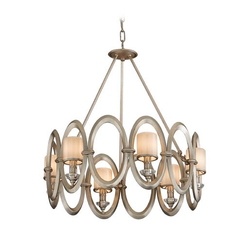 Corbett Lighting Modern Pendant Light with White Glass in Satin Silver Leaf Finish 134-46