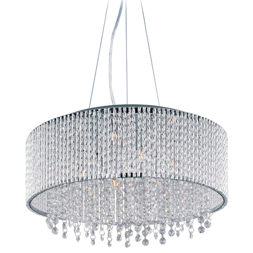 ET2 Lighting Modern Pendant Light with Clear Glass in Polished Chrome Finish E23137-10PC