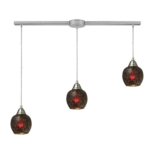 Elk Lighting Multi-Light Pendant Light with Brown Glass and 3-Lights 10208/3L-WN