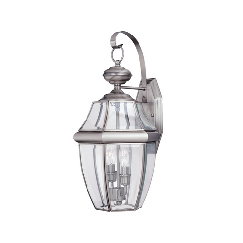 Sea Gull Lighting Outdoor Wall Light with Clear Glass in Antique Brushed Nickel Finish 8039-965