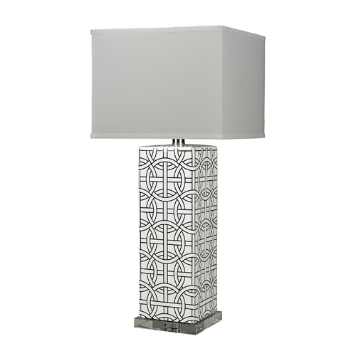Dimond Lighting Ceramic Table Lamp with Linked Rings Pattern and Square Shade D314