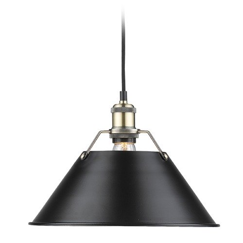 Golden Lighting Golden Lighting Orwell Ab Aged Brass Pendant Light with Conical Shade 3306-L AB-BLK