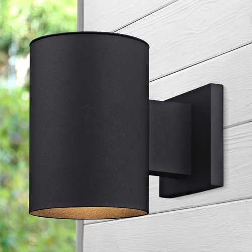 Design Classics Lighting Cylinder Outdoor Wall Down Light in Powder Coated Black Finish 5051 PCBK