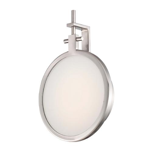 George Kovacs Lighting Modern LED Sconce Wall Light with White Glass in Brushed Nickel Finish P1105-084-L
