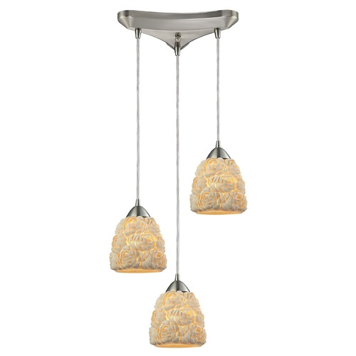Elk Lighting Elk Lighting Shells Satin Nickel Multi-Light Pendant with Bowl / Dome Shade 10414/3