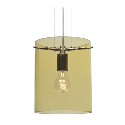 Besa Lighting Besa Lighting Pahu Satin Nickel Mini-Pendant Light with Cylindrical Shade 1KG-Y00607-SN-NI