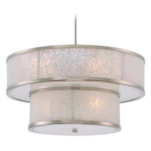 Metropolitan Lighting Metropolitan Lake Frost Polished Nickel Pendant Light with Drum Shade N7408-613