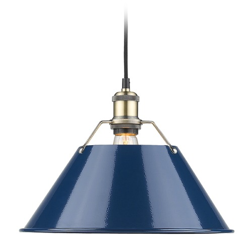 Golden Lighting Golden Lighting Orwell Ab Aged Brass Pendant Light with Conical Shade 3306-L AB-NVY