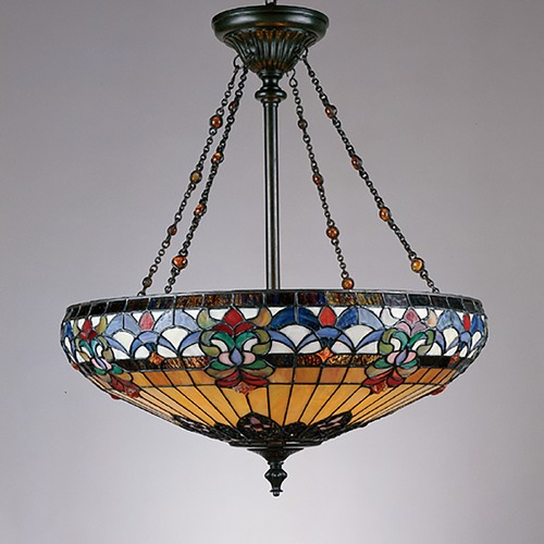 Pendant Light With Multi Color Glass In Vintage Bronze