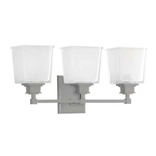 Hudson Valley Lighting Bathroom Light with White Glass in Satin Nickel Finish 1953-SN