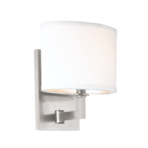 Hudson Valley Lighting Modern Sconce Wall Light with White Shade in Satin Nickel Finish 591-SN