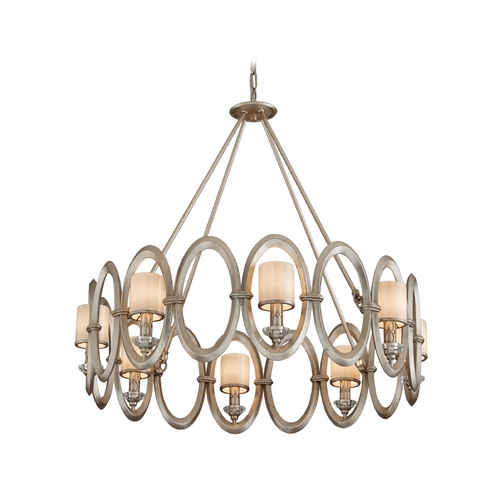 Corbett Lighting Modern Pendant Light with White Glass in Satin Silver Leaf Finish 134-48