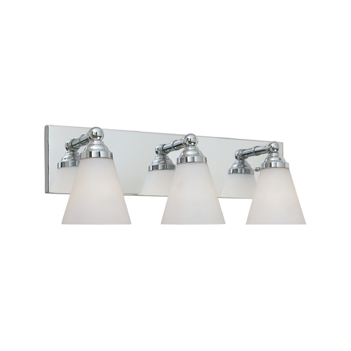 Designers Fountain Lighting Modern Bathroom Light with White Glass in Chrome Finish 6493-CH