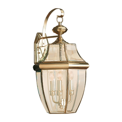 Sea Gull Lighting Outdoor Wall Light with Clear Glass in Polished Brass Finish 8040-02