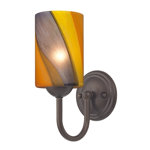 Design Classics Lighting Sconce with Art Glass in Bronze Finish 593-220 GL1015C