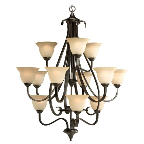 Progress Lighting Progress Chandelier with Beige / Cream Glass in Forged Bronze Finish P4419-77