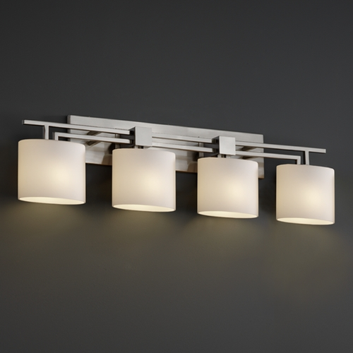 Justice Design Group Justice Design Group Fusion Collection Bathroom Light FSN-8704-30-OPAL-NCKL
