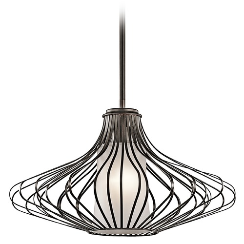 Kichler Lighting Kichler Pendant Light with White Glass in Olde Bronze Finish 43201OZ