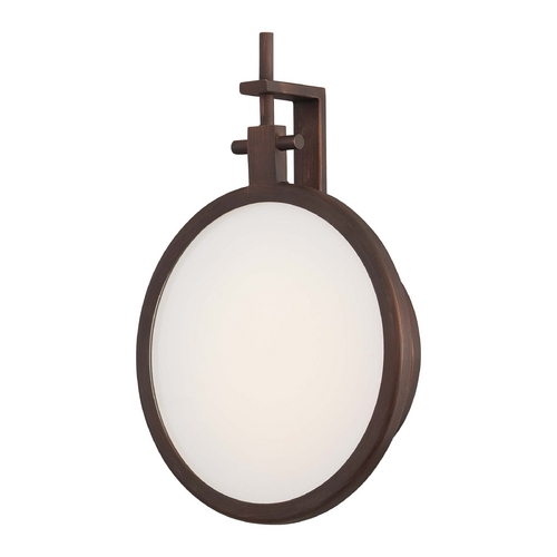 George Kovacs Lighting Modern LED Sconce Wall Light with White Glass in Copper Bronze Patina Finish P1105-647-L
