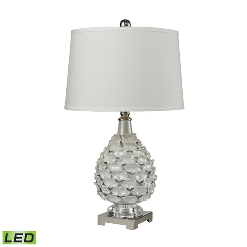 Dimond Lighting Dimond Lighting White Pearlescent Glaze, Polished Nickel LED Table Lamp with Empire Shade D2599-LED