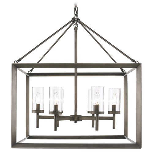 Golden Lighting Golden Lighting Smyth Gunmetal Bronze Chandelier 2073-6 GMT